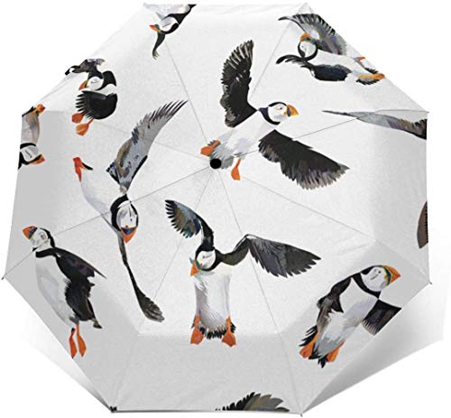 Paraguas automático con diseño de pájaros de Puffin con estampado exterior