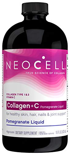 NeoCell - Collagen + C Pomegranate Liquid - BioActive Collagen Type 1&3 + Antioxidants, Ionic Minerals, and Vitamin C Promotes Healthy Joint Cartilage Tissue; Non-GMO and Gluten-Free - 16 Ounces