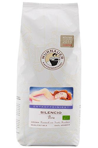 Murnauer Kaffeerösterei SILENCIO - Entkoffeinierter Kaffee aus Peru - von Hand frisch & schonend geröstet - ideal für Espresso und Filterkaffee - 1kg ganze Bohne