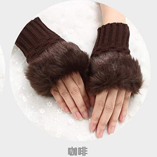 Guantes de invierno para mujer, gruesos, cálidos, con forro, para otoño e invierno, cálidos, guantes de medio dedo, guantes de punto gruesos de felpa, guantes de medio dedo con funda, marrón, talla única