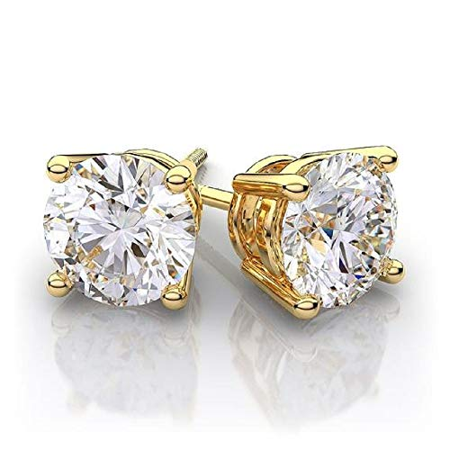 Diamond Stud Earrings set in 14K White, Rose or Yellow Gold with Alternate Round shape Diamonds (GHI,VS) for Womens, Teens or Men. Complimentary Appraisal Certificate.