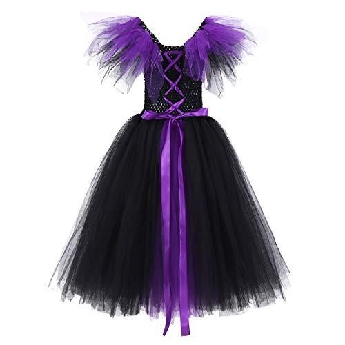 CHICTRY Disfraz Bruja Vampiresa Niña Infantil Vestido de Princesa Tutú Tul Cosplay Costume Disfraz de Halloween Fiesta Party Carnaval para Chicas 4-12 Años