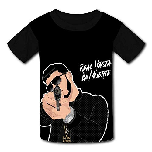 Black Raglan T-Shirts, Real hasta La-Muerte Anuel-AA Short Sleeve Sports Sweat tee for Teen Kids Boys Girls