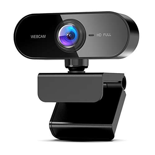 TechLead Webcam mit Mikrofon, Full HD 1080P Webcam mit Automatischer Lichtkorrektur, USB 2.0 Plug & Play, Laptop PC Kamera für Video-Streamin/Konferenz/Spiele, Kompatibel mit Windows/Mac/Android