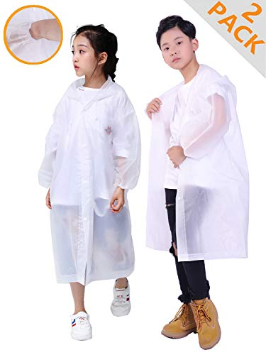 HLKZONE Rain Coats for Kids, [2 Pack] EVA Emergency Reusable Outwear Rain Coat Rain Poncho Jacket