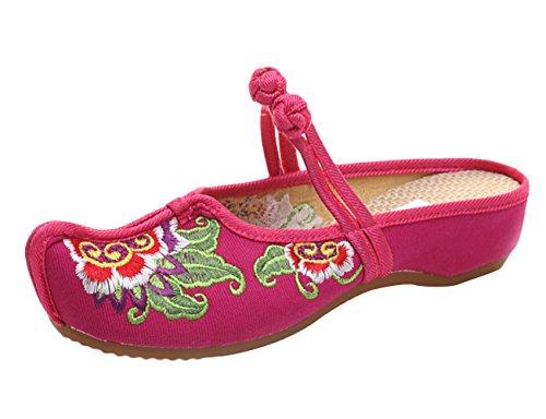 Icegrey dames pantoffel handgemaakte geborduurde pioenroos Mary Jane Clogs
