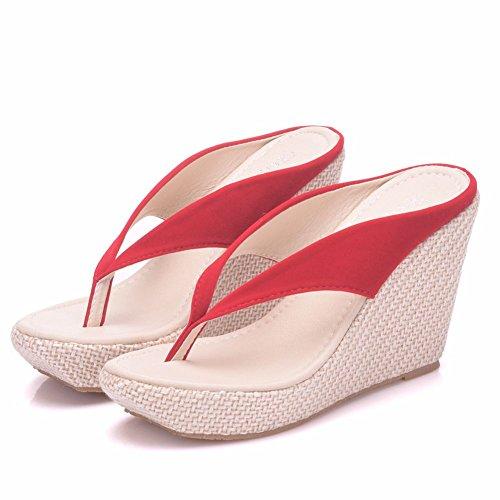 Crystal Queen Damen Strandsandalen Plateau Keilabsatz Sandalen High Heels Wedges Hausschuhe Flip Flops Weiß Flip Flops Plus Size, Rot (rot), 40 EU