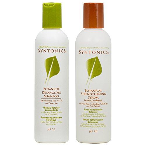 Syntonics Botanical Detangling Shampoo & Strengthening Serum Leave-in Conditioner 8oz Duo