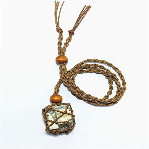 ABCBCA Colgante de chalcopirita Natural Collar de Piedras Preciosas crudas del Collar Minimalista Regalo para Hombres Mujeres