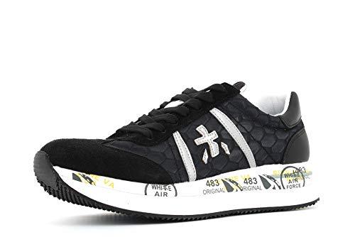 Scarpa Donna PREMIATA Sneakers IN Pelle E Tessuto A Nido D'APE Nero DS20PR03