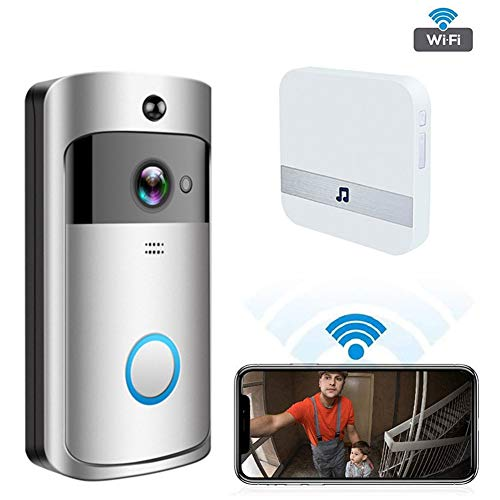 Sizet Video Doorbell Camera Wireless WiFi Security Monitor with Speaker, Waterproof HD APP Remote Control, Infrated Night Vision, PIR Motion Detection, Works with iOS and Android