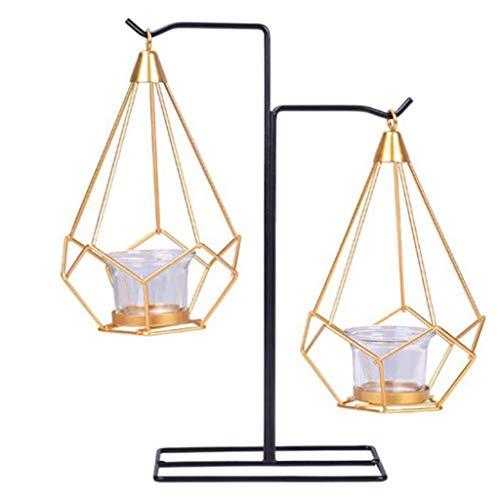 WALNUTA Nórdica Estilo geométrico Metal Que cuelga Candelabro for el hogar decoración del Arte Boda Adornos Decoración (Size : 15.5cm)