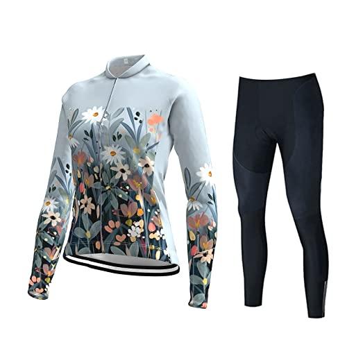Camiseta de Ciclo de Mujer Jersey de Manga Larga Bike Mountain Riding Use con Pantalones Largos Acolchados Conjuntos de Ciclismo for Mujeres (Color : H, Size : S)