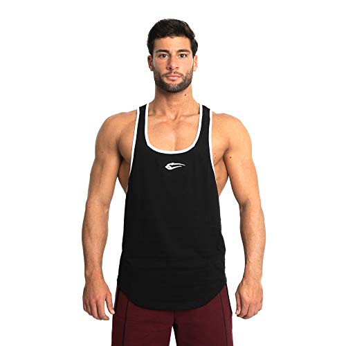 SMILODOX Herren Stringer Pump | Muskelshirt mit Aufdruck für Sport Gym Fitness & Bodybuilding | Muscle Shirt | Tank Top | Unterhemd | Achselshirt | Trainingshirt, Farbe:Schwarz, Größe:M