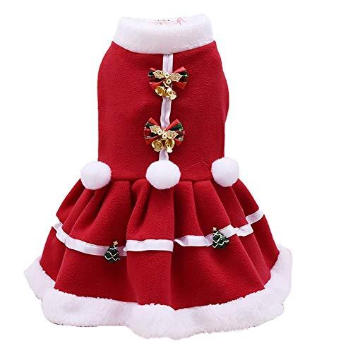Leisial Rojo Falda de Navidad para Mascotas para Perrito Perro de Ropa de Abrigo para Invierno Otoño Accesorios de...