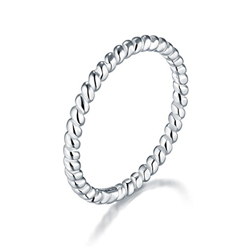 925 Sterling Silver Ring, BORUO Twisted Eternity Band Stackable Rings 2mm Size 8.5, Benefiting The American Red Cross