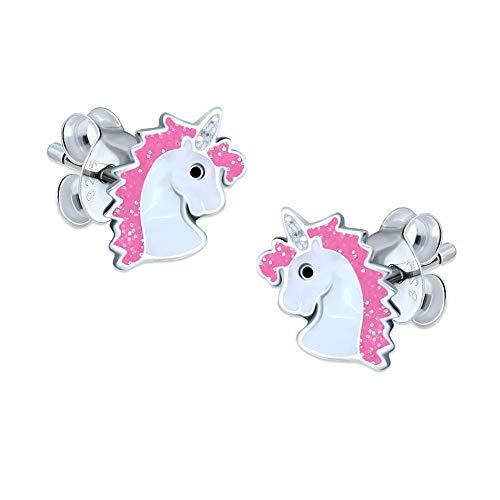 Pendientes de plata de ley con diseño de unicornio; rosa brillante