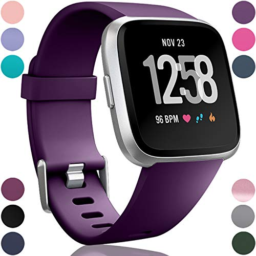 Wepro Replacement Bands Compatible with Fitbit Versa SmartWatch, Sports Watch Band for Women Men, Large, Plum