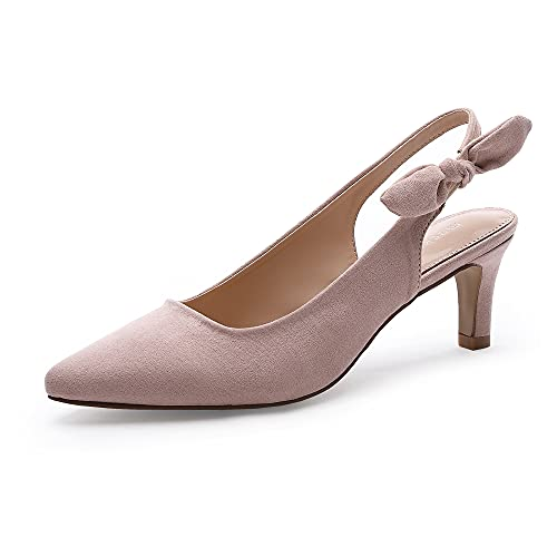MecKiss Stiletto Kitten Pointed Toe Court Shoes Mid Heel Slingback Sandals Straps Bridal Wedding Party Pumps Slip on Smart Formal Shoes(Pink Faux Suede, Numeric_6)