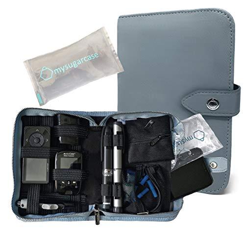 ORGANIZER SCOLA - Premium Diabetes Zubehör Tasche - Diabetikertasche, Kühltasche,Tasche für Medizinzubehör - Spritzen, Insulin und Medikamente + 1 Coolpack - Softblau