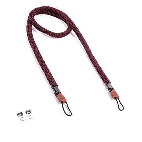 C-Rope Kameragurt The Urbanist, 125cm, handgeflochten, Schnellverschluss, Paracord, Schwarz-Rot