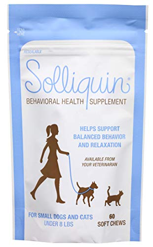 Solliquin Behavior Supplement for Dogs & Cats to Help Promote and Maintain Healthy Calm and Relaxed Behavior, 60 ct Soft Chews
