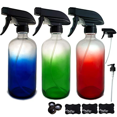 Color Clear Glass Spray Bottles 16oz Set (3 Pack) - Durable Empty Refillable Container with Mist and Stream Setting for Cleaning Solutions, Essential Oil, Aromatherapy, Barber (16oz, Multi-Colored)