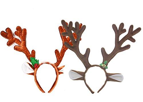 Fyess 2 Pack Cute Reindeer Antlers Headband, Headwear Hair Hoop For Christmas and Cosplay,Masquerade, Easter Party Headbands
