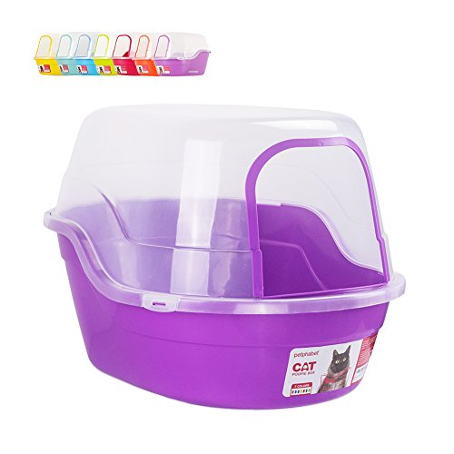 Covered Litter Box, Jumbo Hooded Cat Litter Box Holds Up to Two Small Cats Simultaneously,Extra Large Purple by Petphabet