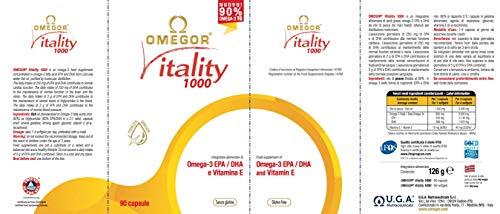 Omega 3 OMEGOR® Vitality 1000-90% di Omega-3 TG! Certificato IFOS dal 2006. 800mg EPA e DHA per capsula in rapporto 2:1. Struttura min. 90% Trigliceridi e distillazione molecolare | 90 cps da 1000
