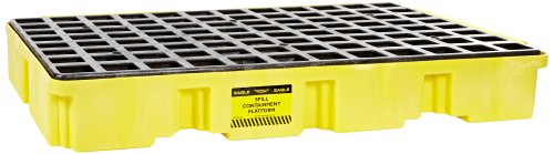 Eagle 1632 Yellow and Black Polyethylene Two Drum Modular Platform with Flat Top Grating, 5000 lbs Load Capacity, 18