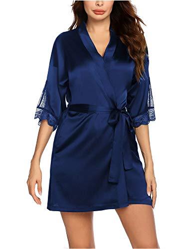 Balancora Kimono - Bata corta de encaje para mujer, albornoz de seda, falda de noche de satén con bolsillos, azul marino, M