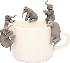 Kitan Club Putitto Hanako Asian Elephant Cup Toy - Blind Box Includes 1 of 5 Collectable Figurines - Hangs on Thin, Flat Edges - Authentic Japanese Design - Made from Durable Plastic, Premium Quality