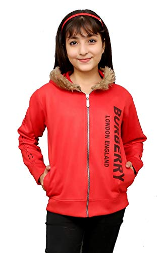 Oriex Girl's Cotton Blend Hooded Hoodie (Orx Fle/fur chil/hodie/Red 13-14 yr_Red_13-14 Years)