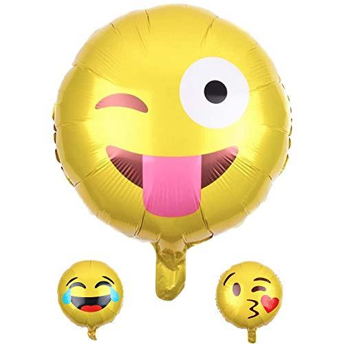 DIWULI, Globo con emoticono sonriente amarilla, para cumpleaños, cumpleaños infantiles, niñas, fiesta, decoración, regalo, DIY