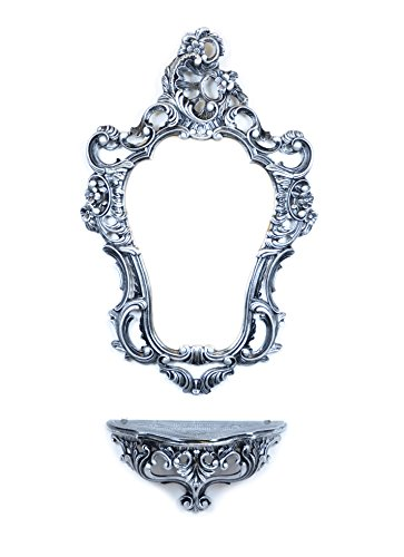 Ideacasa Kompletter Spiegel und Ablage für Konsole, Schwarz, Silber, Barockstil, Luigi XVI, Vintage