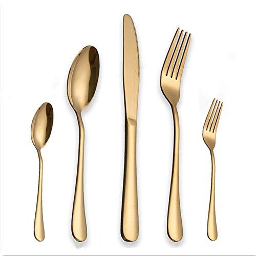 ZFR Schwarzes Geschirrset 304 Edelstahl Goldene Abendessen Messer Gabeln Schaufeln Besteck Set Geschirr