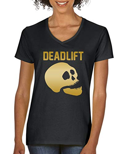 Comedy Shirts - Dead Lift - Halloween - Damen V-Neck T-Shirt - Schwarz/Gold Gr. XL