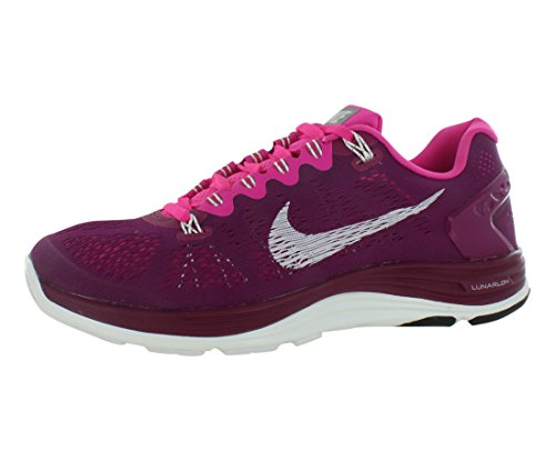 Nike Women's Lunarglide+ 5 Raspberry Red/Pink Foil/Summit White 5 B - Medium