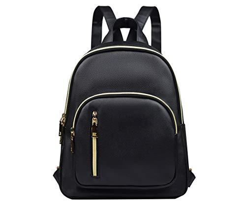 YANAIER Rucksäcke Damen PU Leder Tagesrucksack Schultaschen Reiserucksack Umhängetasche für Mädchen Schwarz