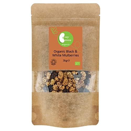 Busy Beans Organic - Moras blancas y negras secas al sol, certificado orgánico (3 kg)
