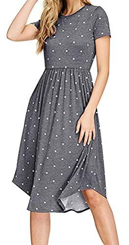Chvity Short Sleeve Pleated Dresses for Women Polka dot Loose Dress for Women Swing midi Dress Empire Waist Casual Dresses for Women Pockets Short Sleeve Summer Dress (Gray, S)