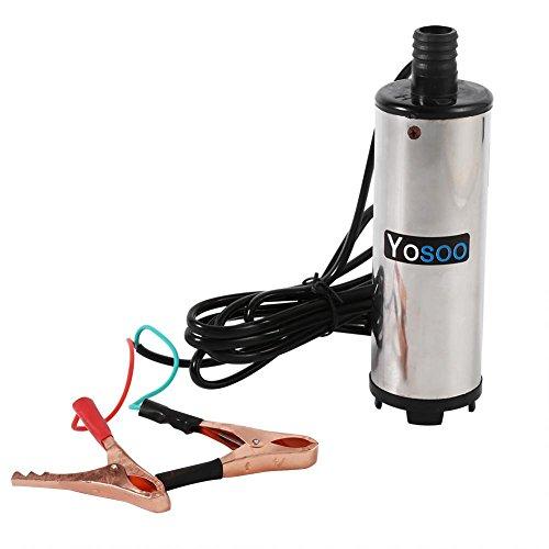 Bomba Agua y Aceite, 12V Bomba Sumergible eléctrica Bomba Combustible Diesel aspiración para aceite diésel y agua para coche, Harvester, Mecánica, marino con abrazadera para tubo