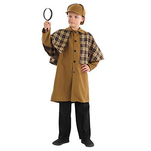 Fun Shack Braunes Detektiv Kostüm für Kinder, Detektiv Set, Faschingskostüm Jungen Mädchen - M