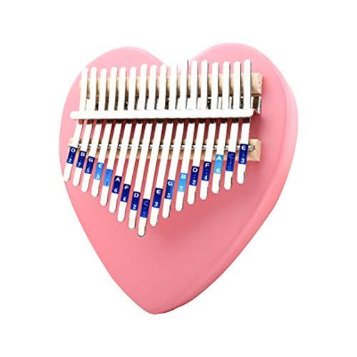 Rosa Kalimba Daumenklavier 17 Schlüssel, Mädchen Hand Zupfinstrumente, Weihnachtsgeschenke für Freundinnen und Kinder Pink-Heart-shaped