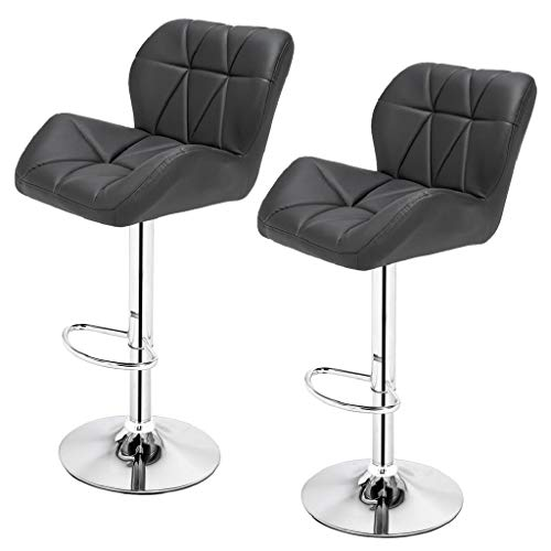 2pcs SSJ-275 Oblique Checks Bar Stool Grey
