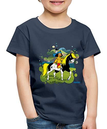 Yakari Indianer Reitet Aus Auf Pferd Kleiner Donner Kinder Premium T-Shirt, 110-116, Navy