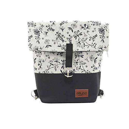 millybo Sweet Fahrradtasche Gepäckträgertasche Damen Rucksack Backpack (960.004 Black-Grey)
