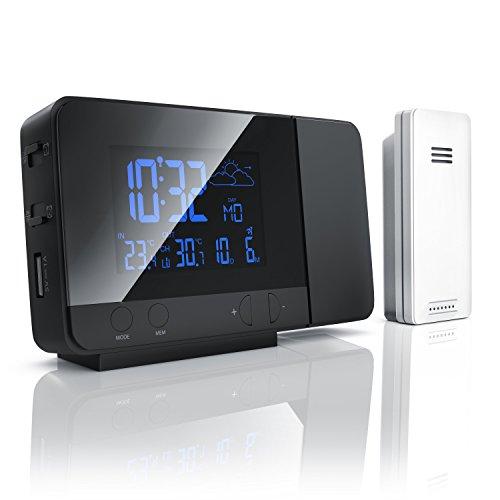 Bearware Funkwetterstation mit Projektion, externem Sensor, DCF-Funkuhr, USB-Ladefunktion und 8-farbiger RGB-Hintergrundbeleuchtung 121,5 x 84 x 33mm Schwarz