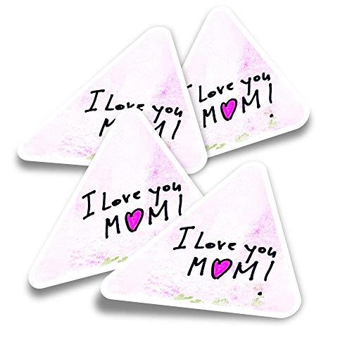Pegatinas triangulares de vinilo (juego de 4) – Pretty I Love You Mom Note Fun Calcomanías para portátiles, tabletas, equipajes, reservas, neveras #16595